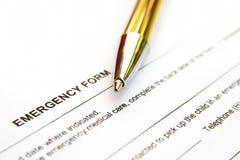Formulário da emergência Foto de Stock Royalty Free