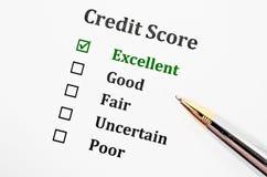 Formulário da pontuação de crédito fotos de stock