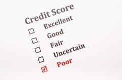 Formulário da pontuação de crédito imagem de stock
