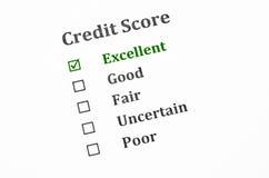 Formulário da pontuação de crédito fotografia de stock royalty free