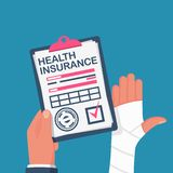 Formulário da posse do homem do seguro de saúde ilustração stock