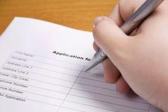 Formulário de aplicação Fotografia de Stock