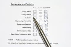 Formulário de avaliação do desempenho Foto de Stock