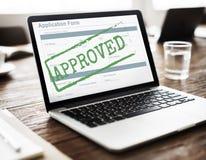 Formulário de candidatura aceitado aprovado Mark Concept imagens de stock