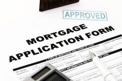 Formulário de candidatura da hipoteca Imagem de Stock