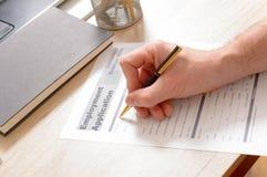 Formulário de candidatura de enchimento do emprego do inblank Imagem de Stock