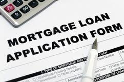 Formulário de candidatura do empréstimo hipotecário Fotografia de Stock Royalty Free