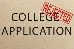 Formulário de candidatura rejeitado da faculdade imagem de stock royalty free