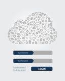 Formulário de computação do início de uma sessão da nuvem ilustração stock