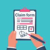 Formulário de crédito de seguro de assinatura do homem de negócios ilustração do vetor