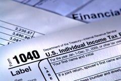 Formulário de imposto americano 1040 do serviço da receita fiscal Imagens de Stock Royalty Free