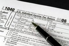 Formulário de imposto da renda Fotografia de Stock