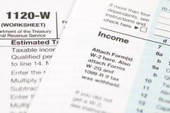 Formulário de imposto da renda de U S imagem de stock