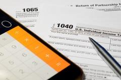 Formulário de imposto dos E.U. foto de stock royalty free