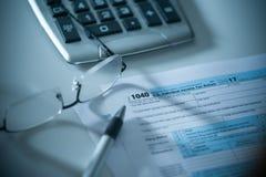 Formulário de imposto de 1040 E Imagens de Stock