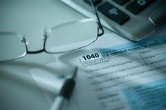 Formulário de imposto de 1040 E Imagem de Stock
