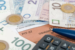 Formulário de imposto individual polonês PIT-37 Fotografia de Stock Royalty Free