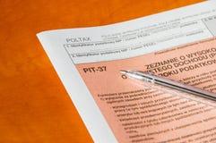 Formulário de imposto individual polonês PIT-37 da renda Fotos de Stock Royalty Free