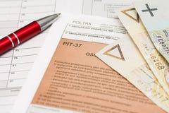 Formulário de imposto polonês fotografia de stock royalty free