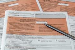 Formulário de imposto polonês PIT-37 com pena Imagens de Stock Royalty Free