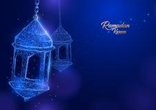Formulário de Ramadan Lantern de um céu estrelado Cartão do al-fitr de Eid ilustração do vetor