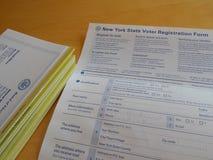 Formulário de recenseamento eleitoral dos Estados de Nova Iorque Foto de Stock Royalty Free