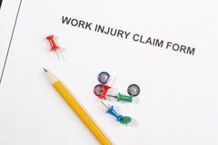 Formulário de reclamação de ferimento de trabalho Imagens de Stock