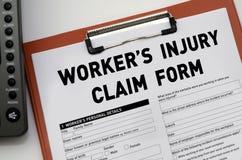 Formulário de reclamação de ferimento do trabalhador Imagens de Stock Royalty Free
