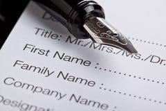 Formulário de registo Imagens de Stock Royalty Free