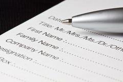 Formulário de registo Foto de Stock