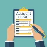 Formulário de relatório do acidente ilustração stock