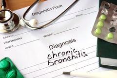 Formulário diagnóstico com bronquite crônica do diagnóstico Imagens de Stock