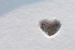 Formulário do coração na neve Fotografia de Stock