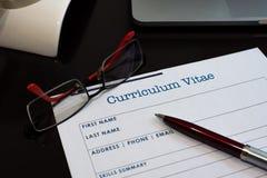 Formulário do curriculum vitae fotografia de stock