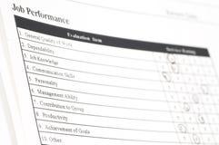 Formulário do desempenho de trabalho Imagens de Stock