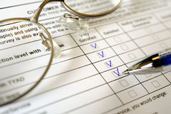 Formulário do exame de cliente Foto de Stock
