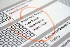 Formulário do exame de negócio Imagens de Stock