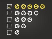 Formulário do feedback da qualidade de cinco rodas denteadas Imagens de Stock Royalty Free