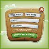 Formulário do início de uma sessão no painel de madeira para o jogo de Ui ilustração royalty free