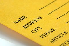 Formulário do recibo da mercadoria Foto de Stock Royalty Free