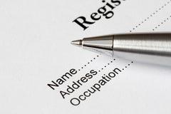Formulário do registo Imagem de Stock Royalty Free