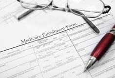 Formulário do registro de Medicare Imagens de Stock