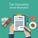 Formulário do seguro de carro ilustração do vetor