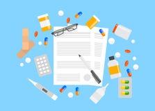 formulário do seguro de saúde ilustração stock