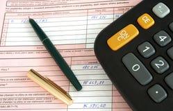 Formulário e calculadora Foto de Stock