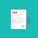 Formulário e pena de imposto Vista superior Elementos lisos modernos do gráfico do projeto Ilustração do vetor ilustração stock
