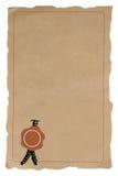 Formulário em branco velho com um selo foto de stock