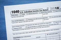 Formulário 1040 1040EZ U S Declaração de rendimentos individual da renda imagem de stock