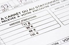 Formulário fino francês para estacionar Fotos de Stock