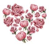 Formulário Heartshaped enchido com as rosas de florescência cor-de-rosa ilustração do vetor